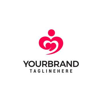 Hugging heart symbol, hug and love yourself logo design template