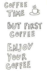 Hand drawn calligraphy menu food coffee tea illustration