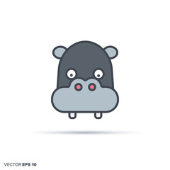 Cute hippo color filled line icon vector