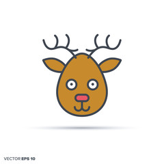 Cute deer color filled line icon vector