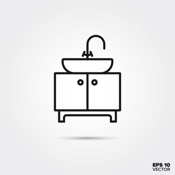 vanity unit and washbasin vector line icon