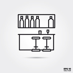 bar with counter, shelf and stools vector line icon