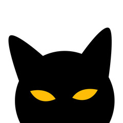 Cat Peeps and Hides. Vector Illustration.