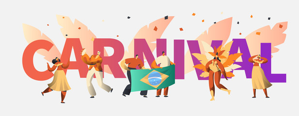 Brazil Carnival Party Character Dancer Poster Typography. Man Woman Dance at Brazilian Holiday Music Festival Banner Design. Exotic Celebration Flat Cartoon Vector Illustration