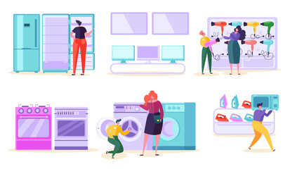 Electronic Retail Store Sale Market Consumer. Customer Purchase TV and Microwave in Technology Supermarket. Man Character Choose Fridge and Washer Product at Tech Mall Flat Cartoon Vector Illustration