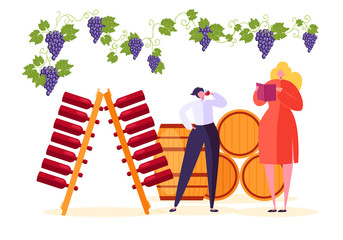 Man Drink Red Wine at Winery Market Store. Sommelier Character Taste French Alcohol Product in Beverage Exhibition. Natural Vineyard Set Flat Cartoon Vector Illustration