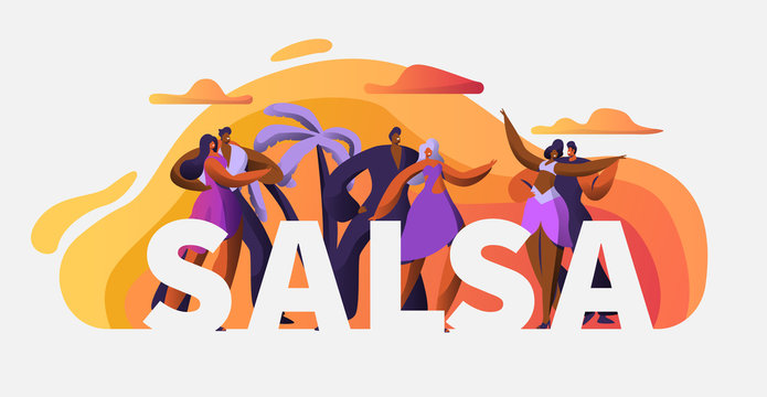 Slasa Party Dancer Character Typography Poster Template. Passion Cuba Dance. Latin Man Woman Tango and Rumba Art Master Concept for Printable Advertising Banner