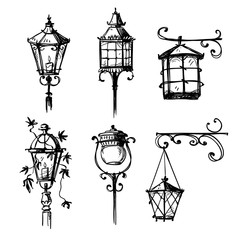 Set of old hand drawn street lamps, vector illustration