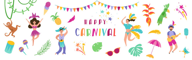 Brazil Carnival Festive Banner with Dancing Characters Woman and Man in Traditional Costumes. Brazilian Samba Dancers Rio de Janeiro. Vector illustration
