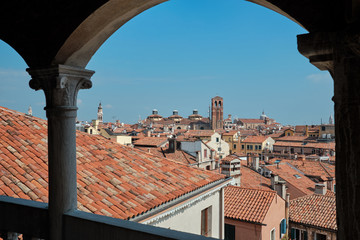 Venice, Italy, September 18, 2018 - View of Venice from the Belvedere by the palace of Kontorini del Bovolo