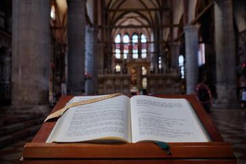 Venice, Italy, September 17, 2018 - Open Gospel in the Cathedral of Santa Maria Gloriosa Frari