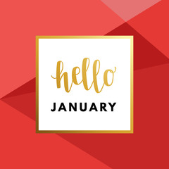 Hello January Hew Year creative, minimal winter greeting card.
