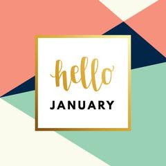 Hello January Hew Year creative, minimal winter greeting card.