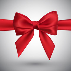 Realistic red bow. Element for decoration gifts, greetings, holidays. Vector illustration