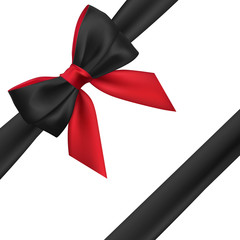 Realistic red and black bow. Element for decoration gifts, greetings, holidays. Vector illustration