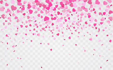 Pink pattern of random falling hearts confetti. Border design element for festive banner, greeting card, postcard, wedding invitation, Valentines day and save the date card. Vector illustration