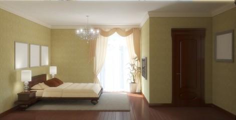 bedroom, interior visualization, 3D illustration