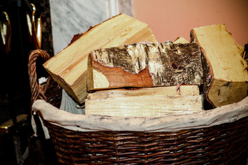 Fire wood in a basket