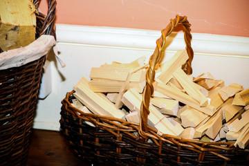 Fire wood in a basket