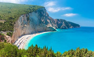 Wall Mural - Landscape with Porto Katsiki beach on the Ionian sea, Lefkada island, Greece
