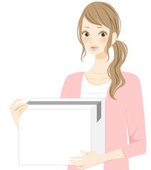 ひとり暮らし 新生活 引越しする女性 笑顔のイラスト