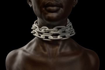Female afro american slave with heavy chain around her neck