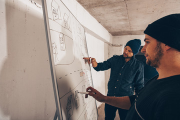 Two gangsters drawing map and prepare for robbery