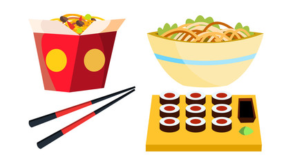 Takeaway Chinese Food Vector. Box Noodles. Chopsticks. Tasty Lunch Menu. Isolated Flat Cartoon Illustration