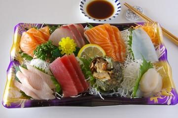 Fotobehang Assortiment 刺身の盛り合わせ お刺身 切り身 シーフード sashimi