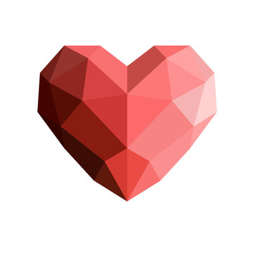 Heart in low poly style.Heart low poly. Origami heart on white background . Abstract polygonal heart. Love symbol.