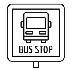 Square bus stop sign icon. Outline square bus stop sign vector icon for web design isolated on white background