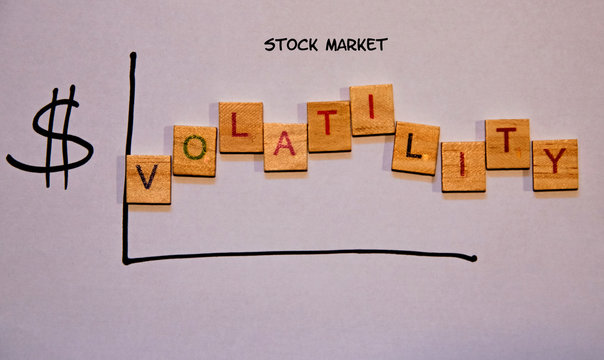 Drawn graph indicating volatility in the stock market.