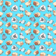 Sheep pattern seamless. Cartoon of sheep vector pattern seamless for web, poster and wrapping paper
