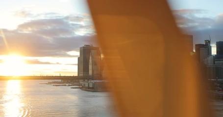 Fototapete - New York City downtown buildings skyline moving subway train
