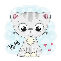Cute Cartoon kitten on a blue background