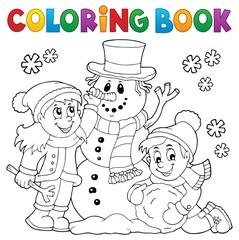 Coloring book kids building snowman 1