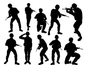 Set of detailed silhouettes of a military army soldiers