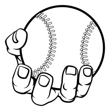 A strong hand holding a baseball ball. Sports graphic