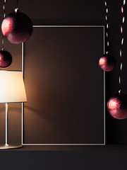 Black poster with steel frames. Christmas decoration. 3d rendering.