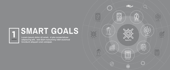 2019 SMART Goals Vector graphic with Smart goal keywords