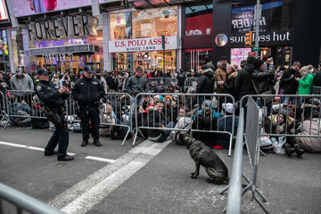 New York Police Department (NYPD) officer takes a picture of a K-9 dog at Times Square ahead of the New Year's Eve celebrations in Manhattan