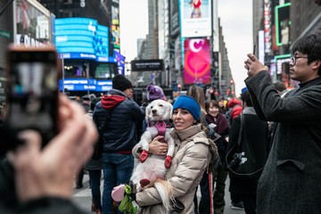 A reveler takes a picture with her dog theNewYear'sEvein Times Square inthe Manhattan