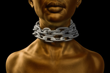 Female afro american slave with heavy chain around her neck and golf skin