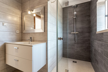 Modern bathroom with shower and washbasin for hygiene.