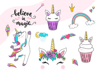 Cute unicorn vector with cupcake, dancing little horse, head with flowers, rainbow, diamond, ice cream and lettering quote believe in magic. Cool girl patches. Graphic design for print element