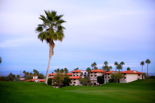 A row of suites surrounded by golf green grass and palm trees under a blue wispy sky in a december Arizona landscape