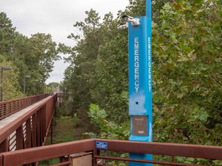 Emergency blue light pole in quiet wooden footpath area
