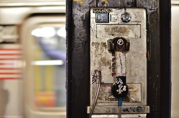 Dirty Pay Phone Rundown New York City Subway Platform Grunge City Life