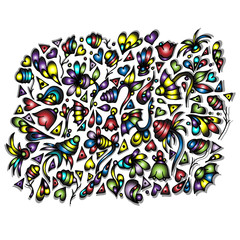 Pattern of flowers, hearts, triangles. Hand drawn doodle