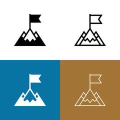 Mountain Peak With Flag Icon Set